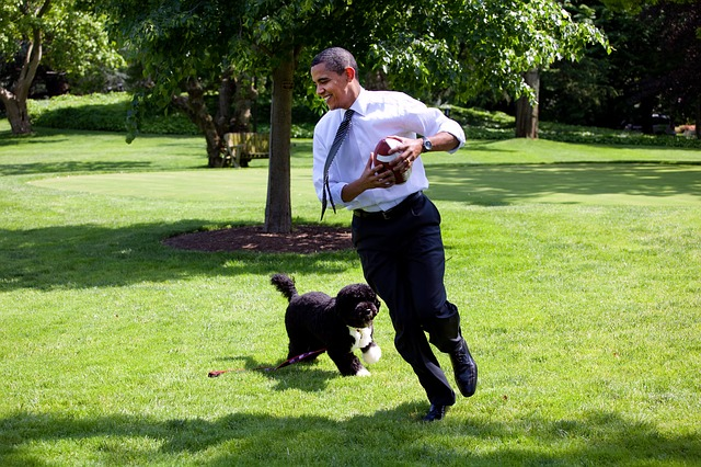 Barack Obama and his dog